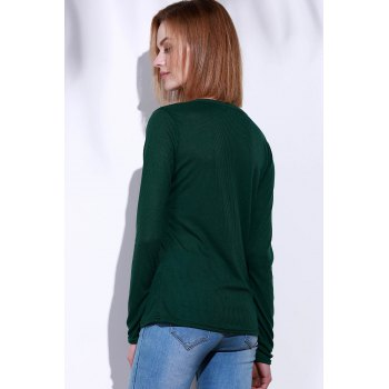 Casual V-Neck Long Sleeve Pure Color Women's T-Shirt - GREEN M