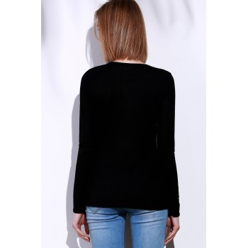 Casual V-Neck Long Sleeve Pure Color Women's T-Shirt - BLACK L