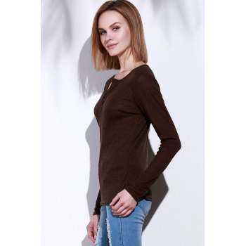 Casual V-Neck Long Sleeve Pure Color Women's T-Shirt - BROWN M