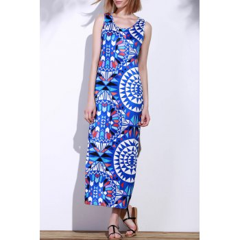 Bohemian Scoop Neck Sleeveless Printed Women's Maxi Dress
