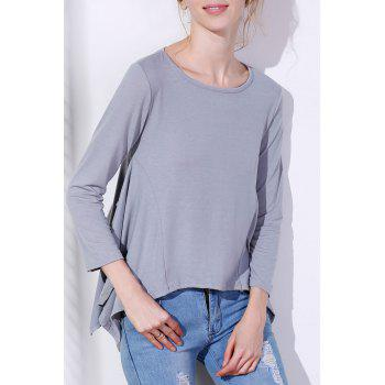 Buy Charming Scoop Neck Solid Color Asymmetric T-Shirt Women GRAY