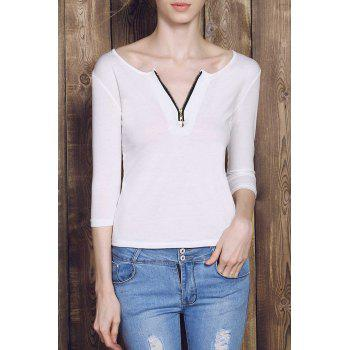 Charming Low-Cut Solid Color Zippered 3/4 Sleeve T-Shirt For Women