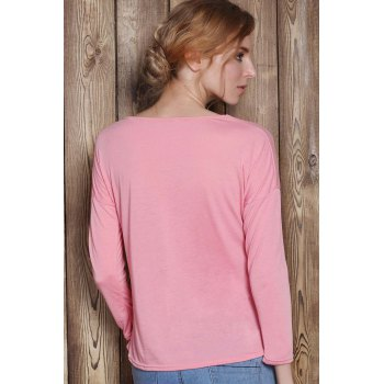 Charming Scoop Neck Solid Color 3/4 Sleeve T-Shirt For Women - PINK S