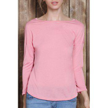 Scoop Neck Solid Color 3 4 Sleeve T Shirt