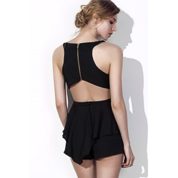 Fashionable Round Collar Solid Color Irregular Hem Cut Out Sleeveless Women's Romper - BLACK ONE SIZE(FIT SIZE XS TO M)