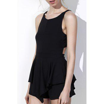 Fashionable Round Collar Solid Color Irregular Hem Cut Out Sleeveless Women's Romper