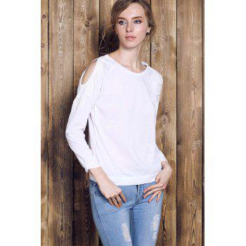 Couper Chic Scoop Collar manches longues Sweat Out Lace Spliced ​​femmes - Blanc S