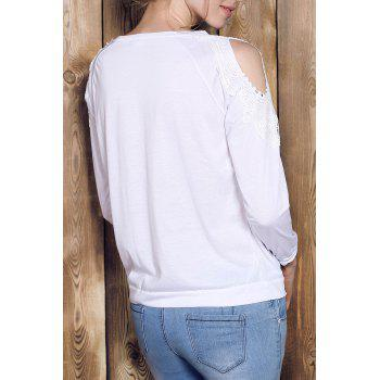 Chic Scoop Collar Long Sleeve Cut Out Lace Spliced Women's Sweatshirt - WHITE S
