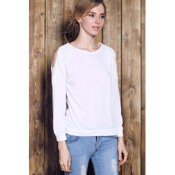 Couper Chic Scoop Collar manches longues Sweat Out Lace Spliced femmes - Blanc XL