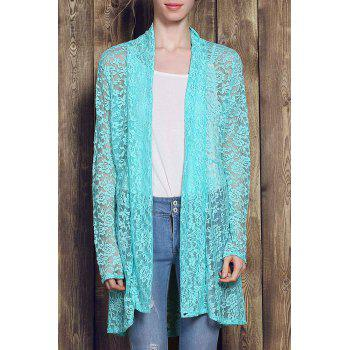 Plus Size Lace Embroidered Long Sleeve Women's Cardigan