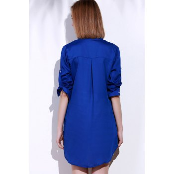 Long Sleeve Plunging Neck Loose-Fitting Solid Color Women's Blouse - L L