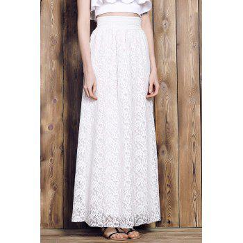 Elegant Women's High-Waisted Lace Maxi Skirt - S S