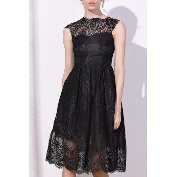 Fashionable Women's Round Collar Cap Sleeve Lace A-Line Dress