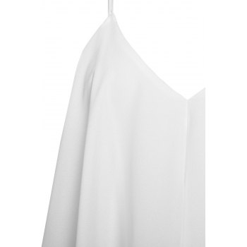 Stylish Sleeveless V-Neck Asymmetrical Chiffon Women's Dress - WHITE S