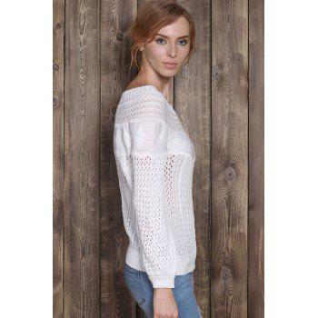 Chic Long Sleeve Boat Neck Pure Color Women's Sweater - WHITE S