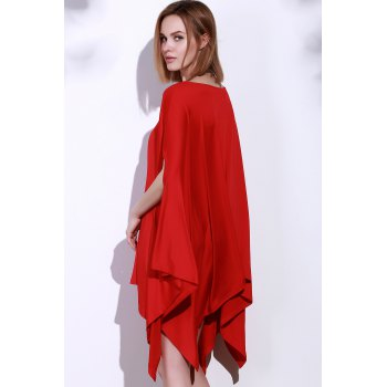 Simple Solid Color 1/2 Batwing Sleeve Asymmetric Loose Top For Women - RED RED