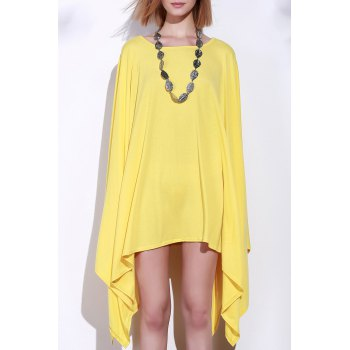 Simple Solid Color 1/2 Batwing Sleeve Asymmetric Loose Top For Women