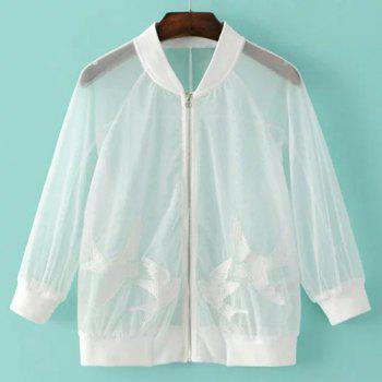 Fashionable Women's Stand Collar 3/4 Sleeve Embroidered See-Through Jacket