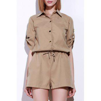 Simple Style Shirt Collar Solid Colour Drawstring Waist Romper For Women
