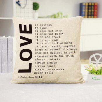 Fashion Love Letters Pattern Square Shape Flax Pillowcase (Without Pillow Inner)