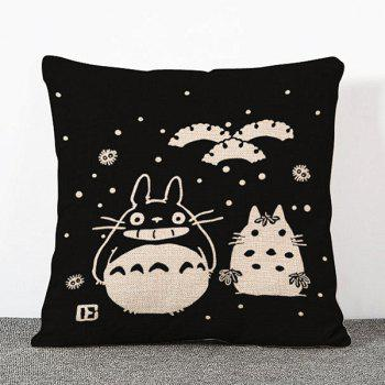 Chic Cartoon Totoro Snowing Pattern Square Shape Flax Pillowcase (Without Pillow Inner)