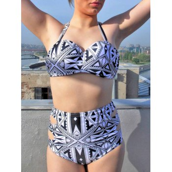 Sexy Women's Halter Hollow Out Geometric Pattern Bikini Set