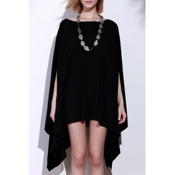 Simple Solid Color 1/2 Batwing Sleeve Asymmetric Loose Top For Women - BLACK L