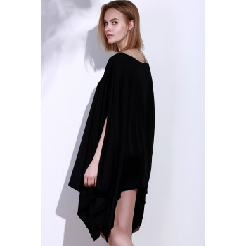 Simple Solid Color 1/2 Batwing Sleeve Asymmetric Loose Top For Women - BLACK BLACK