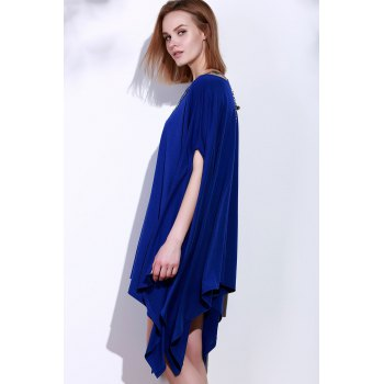 Simple Solid Color 1/2 Batwing Sleeve Asymmetric Loose Top For Women - BLUE BLUE