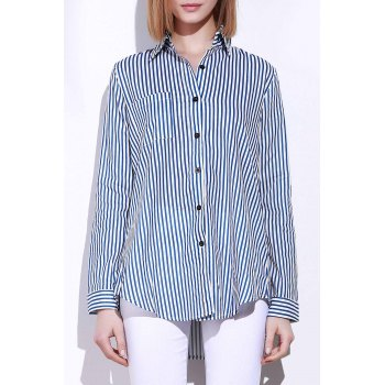 Single Pocket Striped Button Down Shirt - BLUE AND WHITE BLUE/WHITE