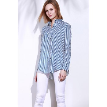 Single Pocket Striped Button Down Shirt - M M