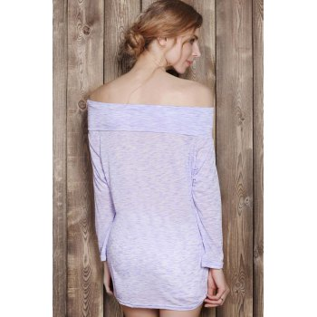 Fashionable Off-The-Shoulder Solid Color Plus Size 3/4 Sleeve Women's T-Shirt - LIGHT PURPLE XL