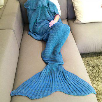 Stylish Comfortable Falbala Decor Knitted Mermaid Design Throw Blanket - LAKE BLUE LAKE BLUE