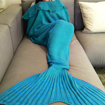 Stylish Comfortable Falbala Decor Knitted Mermaid Design Throw Blanket - WATER BLUE WATER BLUE