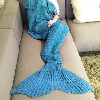 Stylish Comfortable Falbala Decor Knitted Mermaid Design Throw Blanket -  WATER BLUE