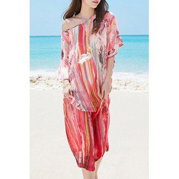Chiffon Batwing Print Boho Dress