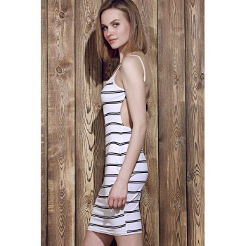 Trendy Open Back Striped Bodycon Cami Dress For Women - WHITE WHITE