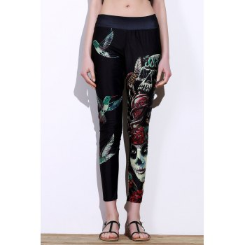 Active Elastic Waist Slimming Bird And Skull Print Women's Pants