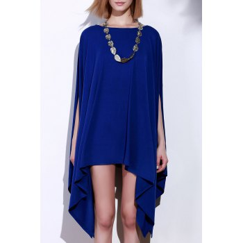 Handkerchief Plus Size Caped Top with Batwing Sleeve - BLUE L