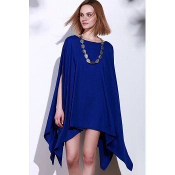 Handkerchief Plus Size Caped Top with Batwing Sleeve - BLUE BLUE