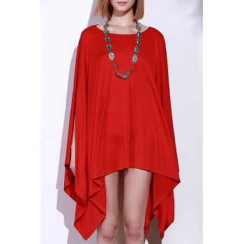 Handkerchief Plus Size Caped Top with Batwing Sleeve - RED L