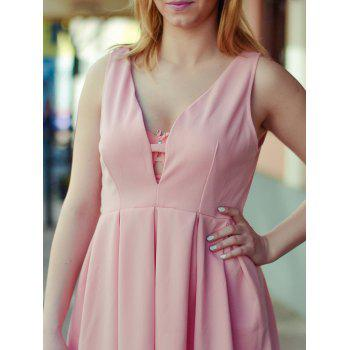 Fashion Plunging Neck Sleeveless Zippered Solid Color Women's Dress - PINK S