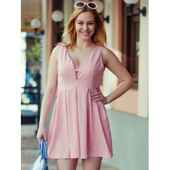Fashion Plunging Neck Sleeveless Zippered Solid Color Women's Dress - PINK PINK