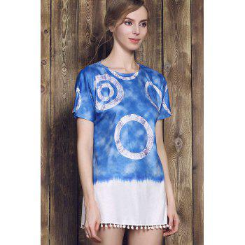 Casual Style Short Sleeve Round Neck Tie Dye Women's Mini Dress - PURPLISH BLUE S