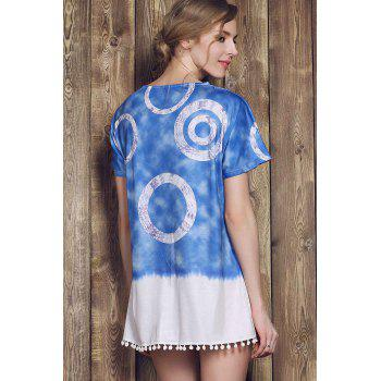 Casual Style Short Sleeve Round Neck Tie Dye Women's Mini Dress - M M