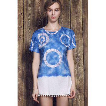 Casual Style Short Sleeve Round Neck Tie Dye Women's Mini Dress - PURPLISH BLUE L