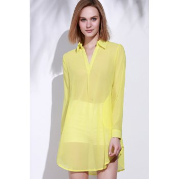 Stylish Turn-Down Collar Solid Color Loose-Fitting Long Sleeve Women's Dress - L L