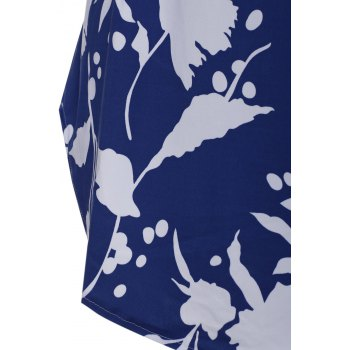 Floral Print Backless Criss Cross Mini Dress - BLUE/WHITE XL