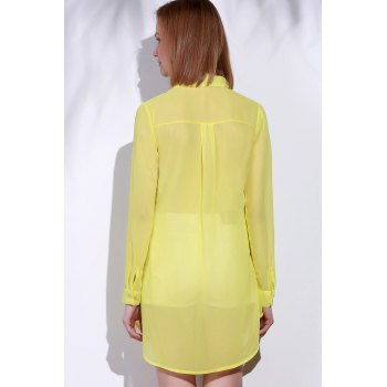 Stylish Turn-Down Collar Solid Color Loose-Fitting Long Sleeve Women's Dress - YELLOW YELLOW