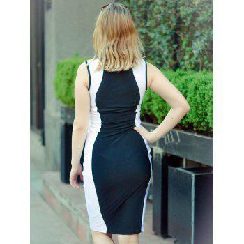 Dress Sexy U-Neck manches Bodycon Color Block femmes - Blanc et Noir S